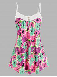 Plus Size Buttons Flower Pattern Cami Tank Top -