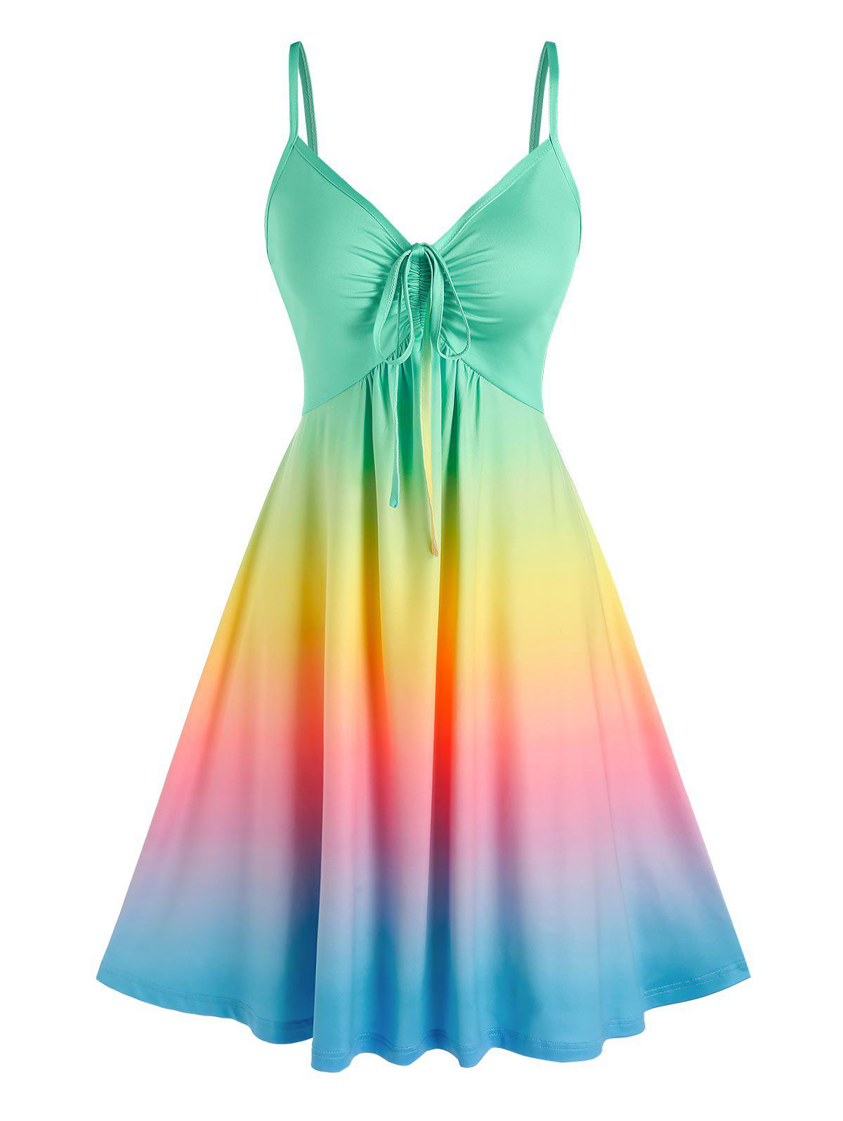 Best Rainbow Color Gradient Slip Dress