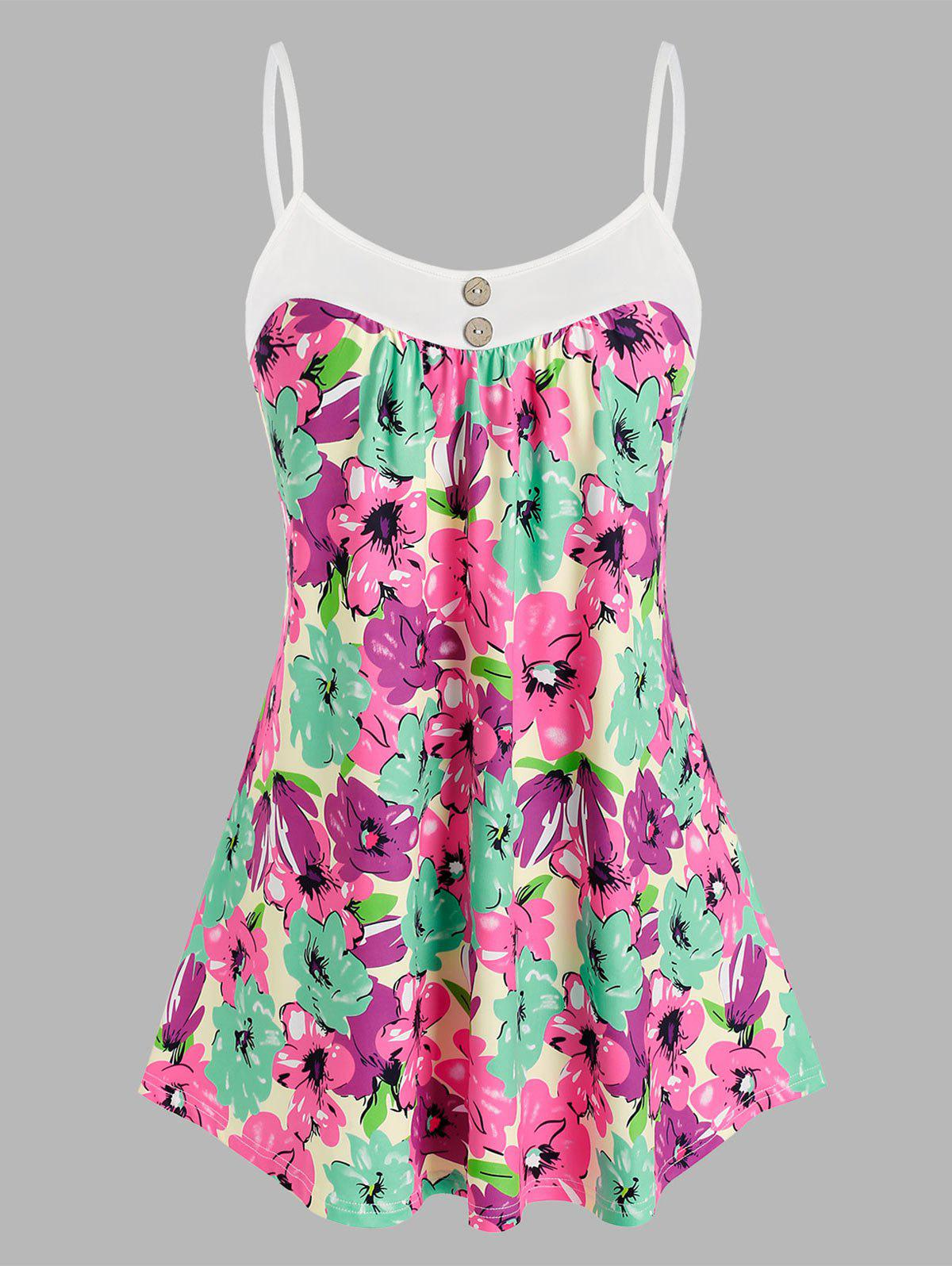 Chic Plus Size Buttons Flower Pattern Cami Tank Top