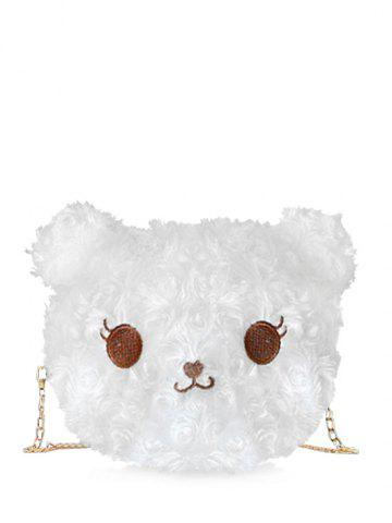Cartoon Animal Faux Fur Crossbody Bag - MILK WHITE
