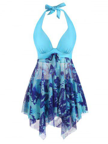 Halter Butterfly Print Mesh Insert Handkerchief Tankini Swimwear - LIGHT BLUE - 2XL