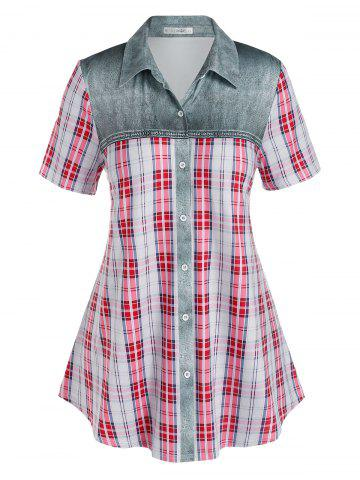 Plus Size Checked Print Button Up Blouse - MULTI - 3X