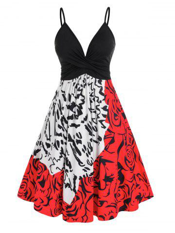 Plus Size Twist Ruched Abstract Print Cami A Line Dress - MULTI - 5X