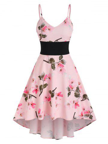 Floral Print High Low Flare Cami Dress