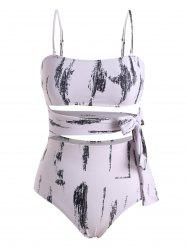 Abstract Print Cutout Waist Tie One-piece Swimsuit -
