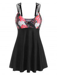 Triple Strap Flower Print Boyleg Skirted Tankini Swimwear -