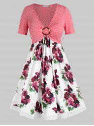 Plus Size Flower Butterfly Print Lace Insert O Ring Dress -