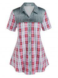 Plus Size Checked Print Button Up Blouse -