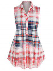 Plus Size Plaid Colorblock Sleeveless Blouse -