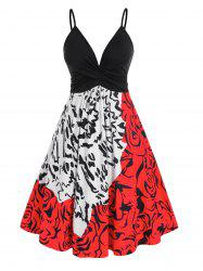Plus Size Twist Ruched Abstract Print Cami A Line Dress -