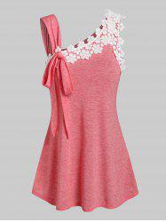 Bowknot Detail Flower Lace Panel Tank Top -