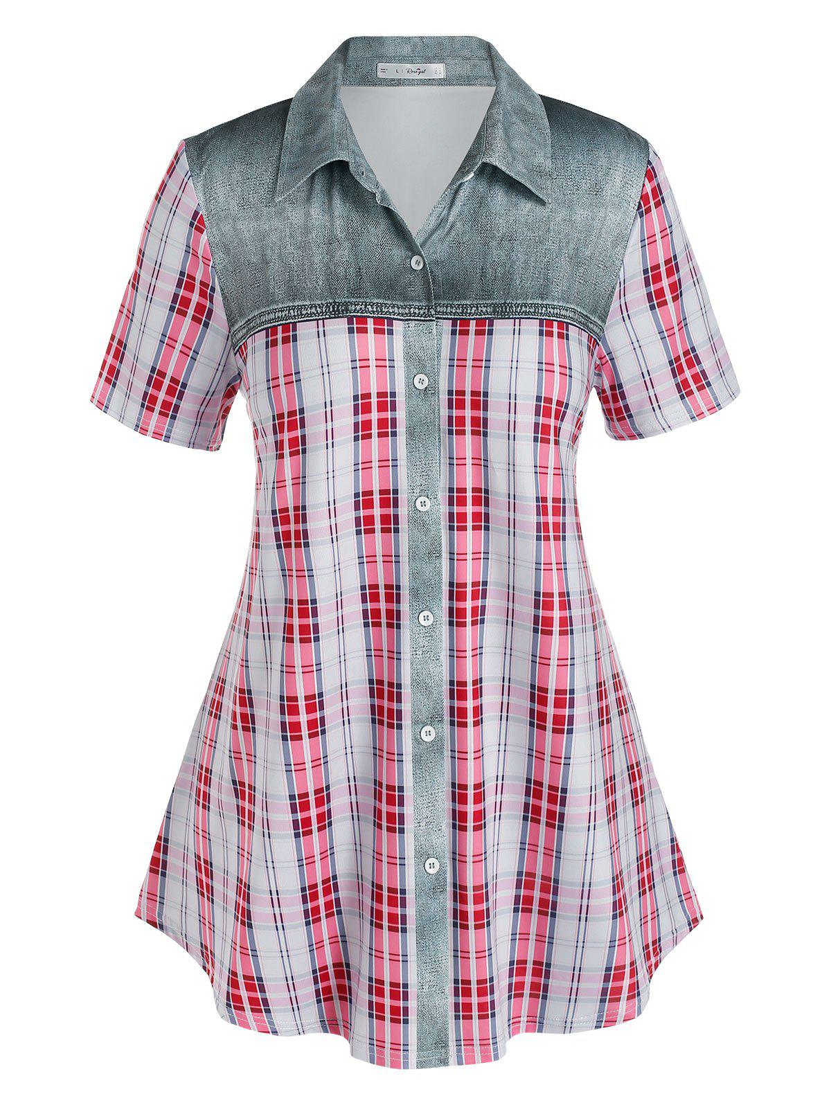 Affordable Plus Size Checked Print Button Up Blouse