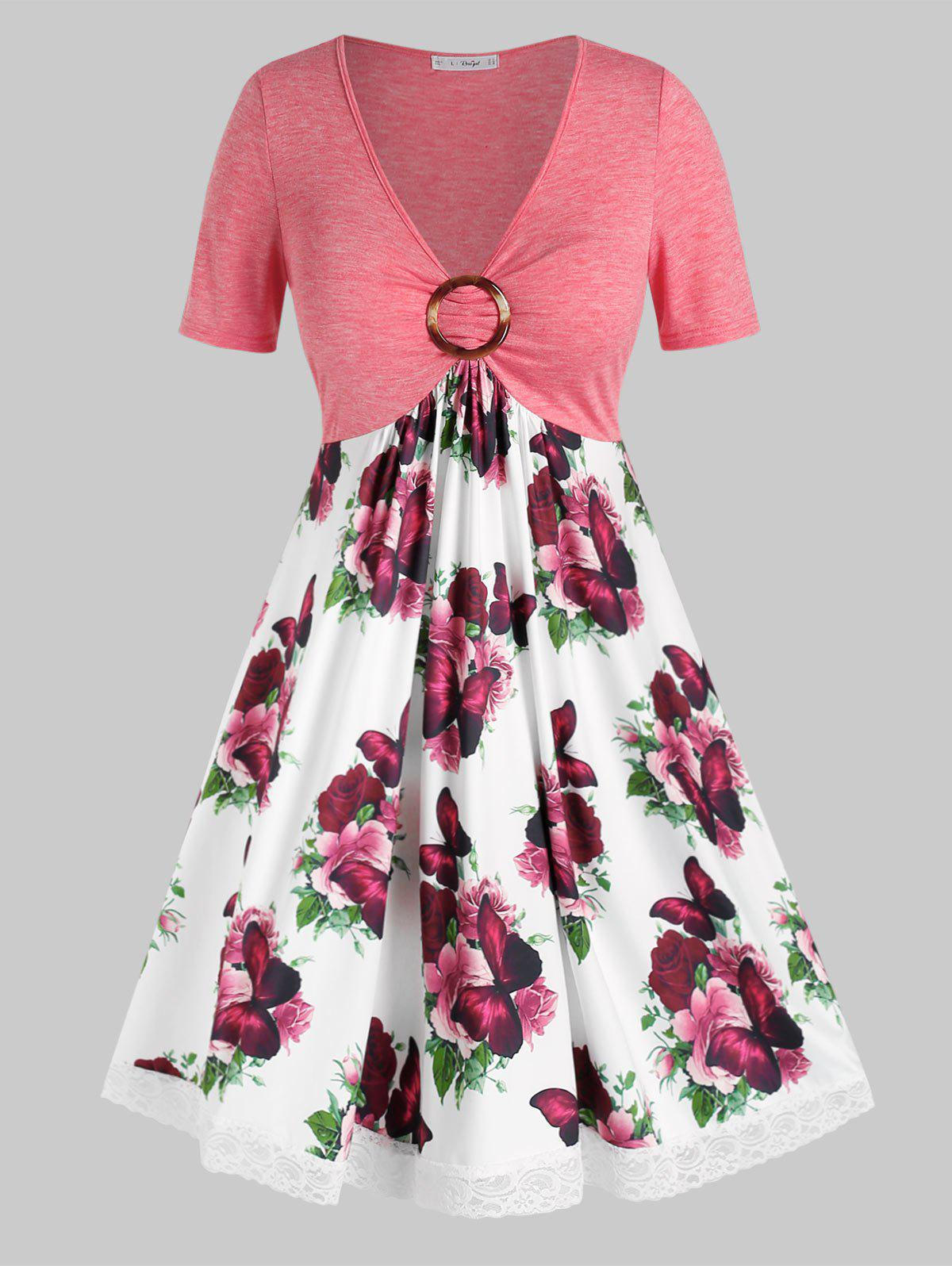 Discount Plus Size Flower Butterfly Print Lace Insert O Ring Dress