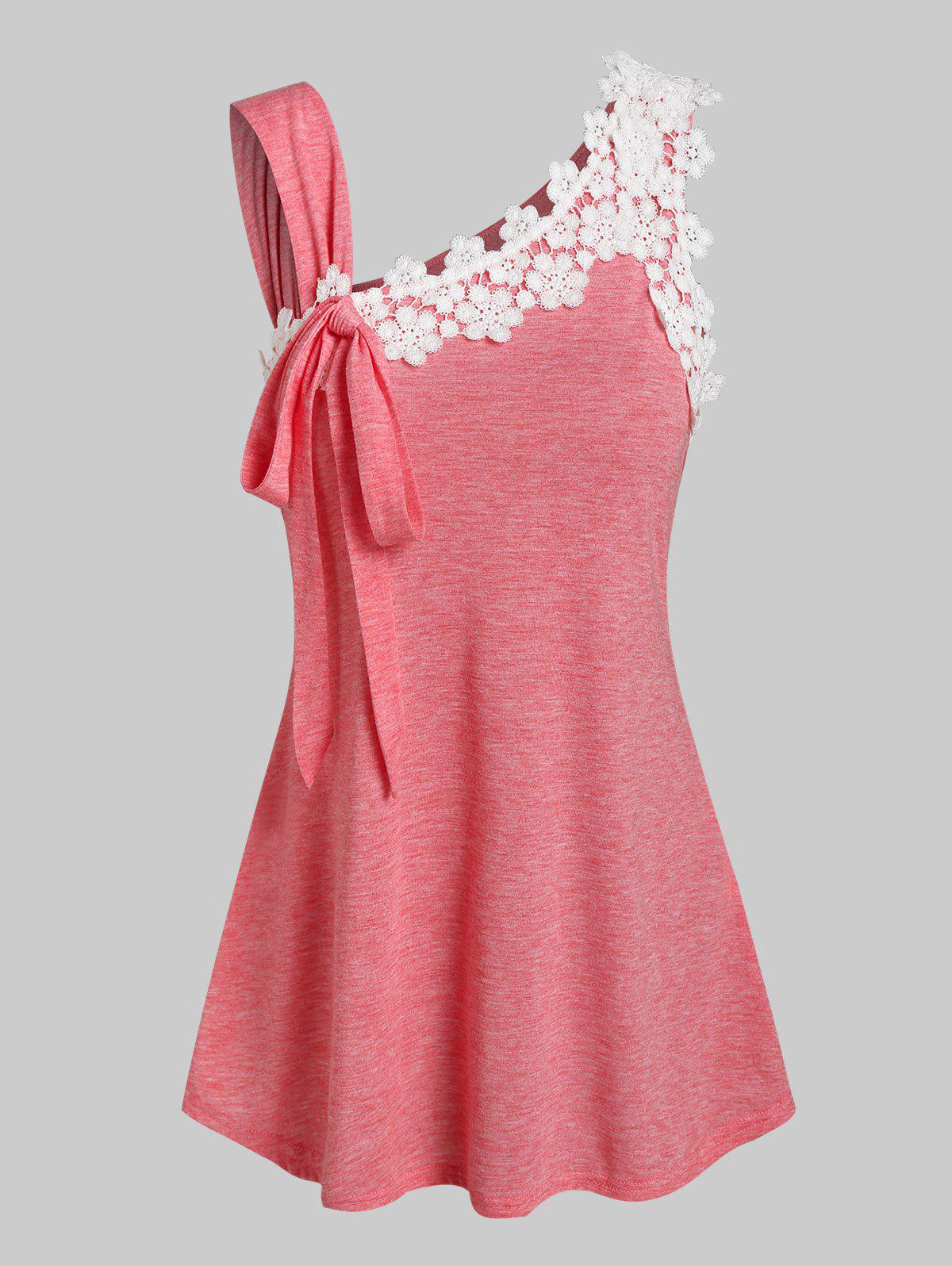 Discount Bowknot Detail Flower Lace Panel Tank Top