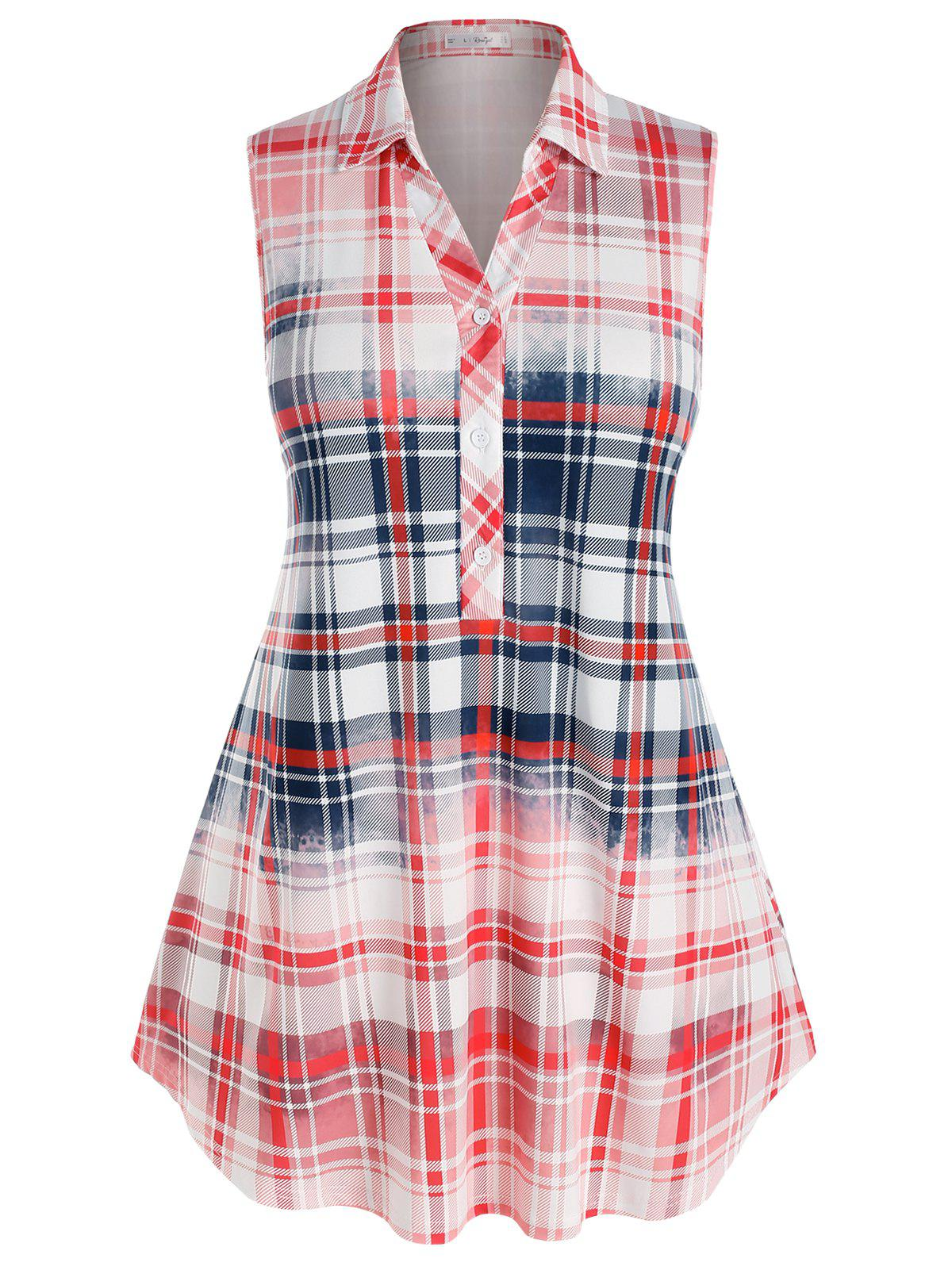 Store Plus Size Plaid Colorblock Sleeveless Blouse