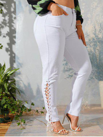 Solid Lace Up Side Plus Size Skinny Pants - WHITE - XL