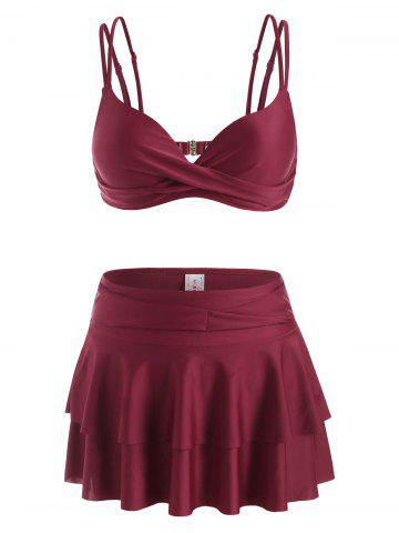 Underwire Twist Detail Tiered Flounce Three Piece Swimsuit - DEEP RED - XL