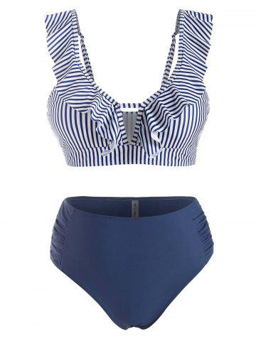Plus Size Ruffle Striped Ruched Full Coverage Bikini Swimwear - DEEP BLUE - L