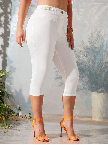 Plus Size Chain Detail Capri Pants - WHITE - 2X