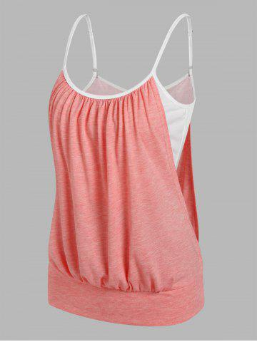 Heathered Blouson Faux Twinset Cami Top - LIGHT PINK - L