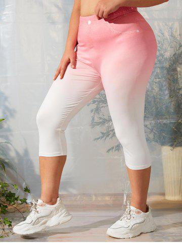 Plus Size 3D Denim Print Ombre Capri Leggings - MULTI - 1X