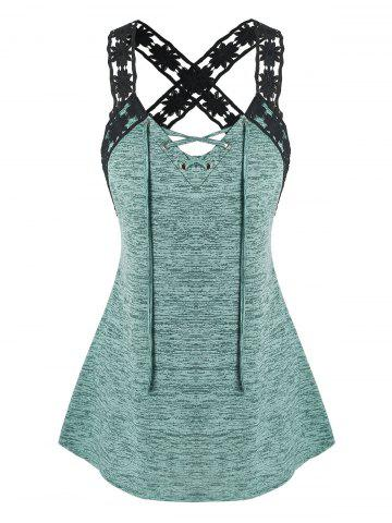 Plus Size Floral Laced Strap Marled Tank Top - DEEP GREEN - L