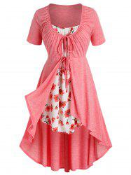 Plus Size Tie Front High Low T Shirt with Flower Print Camisole -