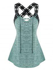 Plus Size Floral Laced Strap Marled Tank Top -