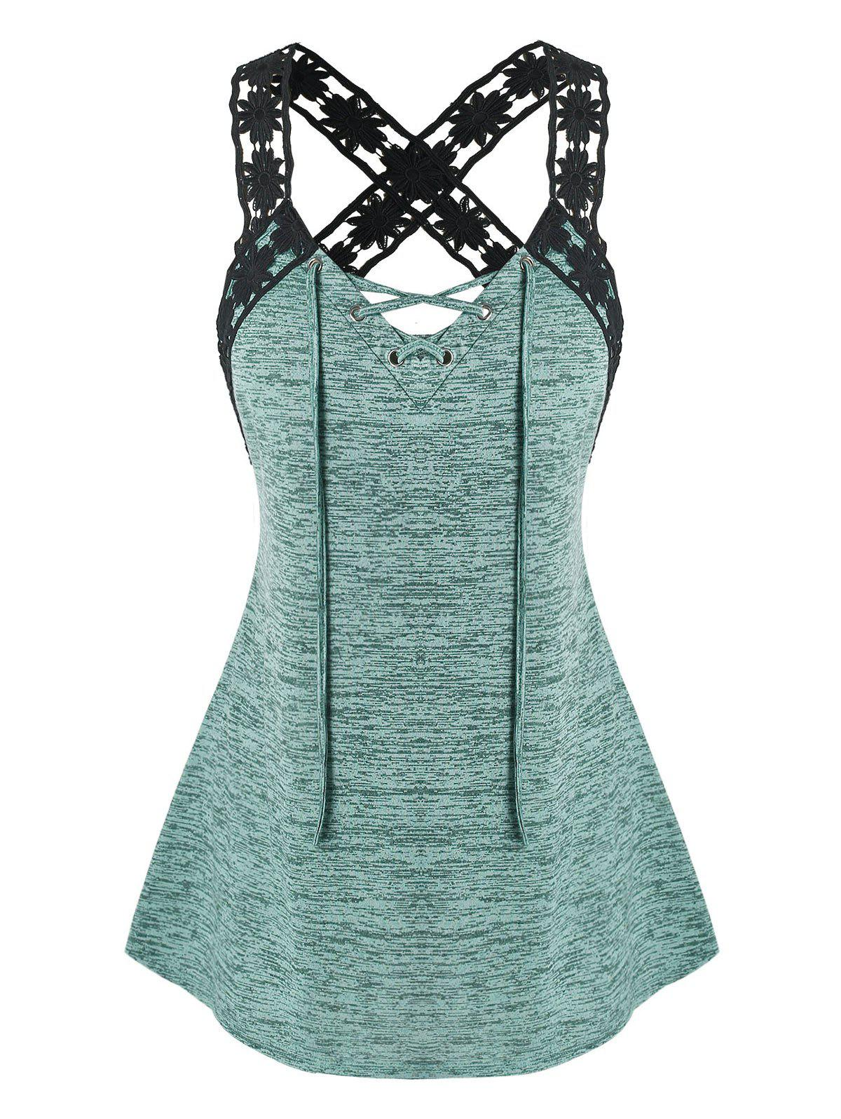 Affordable Plus Size Floral Laced Strap Marled Tank Top
