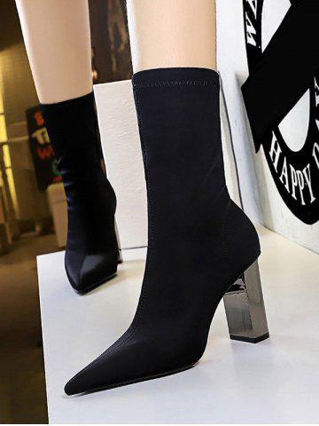 Stretch Stitching Solid Chunky Heel Mid Calf Boots