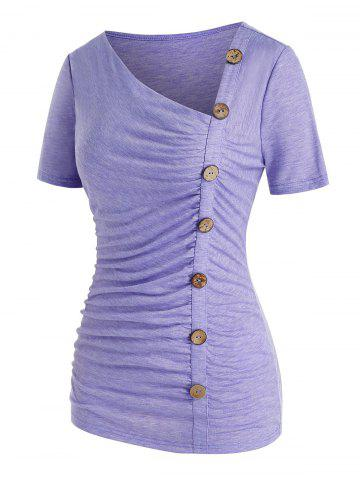 Plus Size Button Up Ruched Asymmetrical T Shirt
