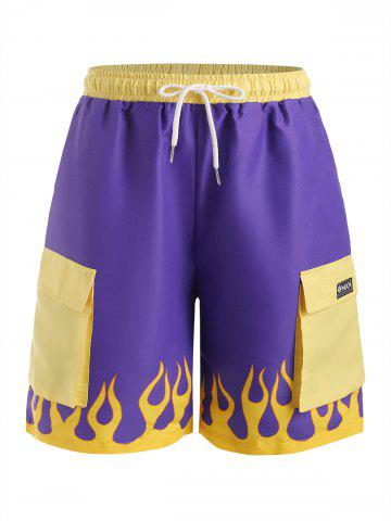 Shorts Casuales de Estampado de Flama - PURPLE AMETHYST - L