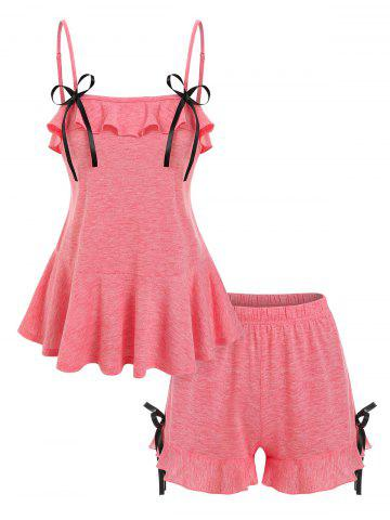 Bowknot Detail Flounced Heathered Cami Top and Mini Shorts Sleepwear Set - LIGHT PINK - XL