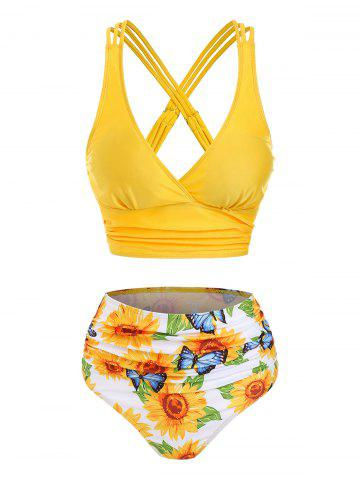Sunflower Butterfly Print Strappy Ruched Padded Bikini Set - YELLOW - L