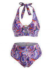 Plus Size Halter Paisley Print O-ring Ruched Full Covergae Bikini Swimwear -