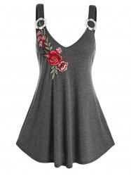 Plus Size Flower Applique Plunge Backless Tunic Tank Top -