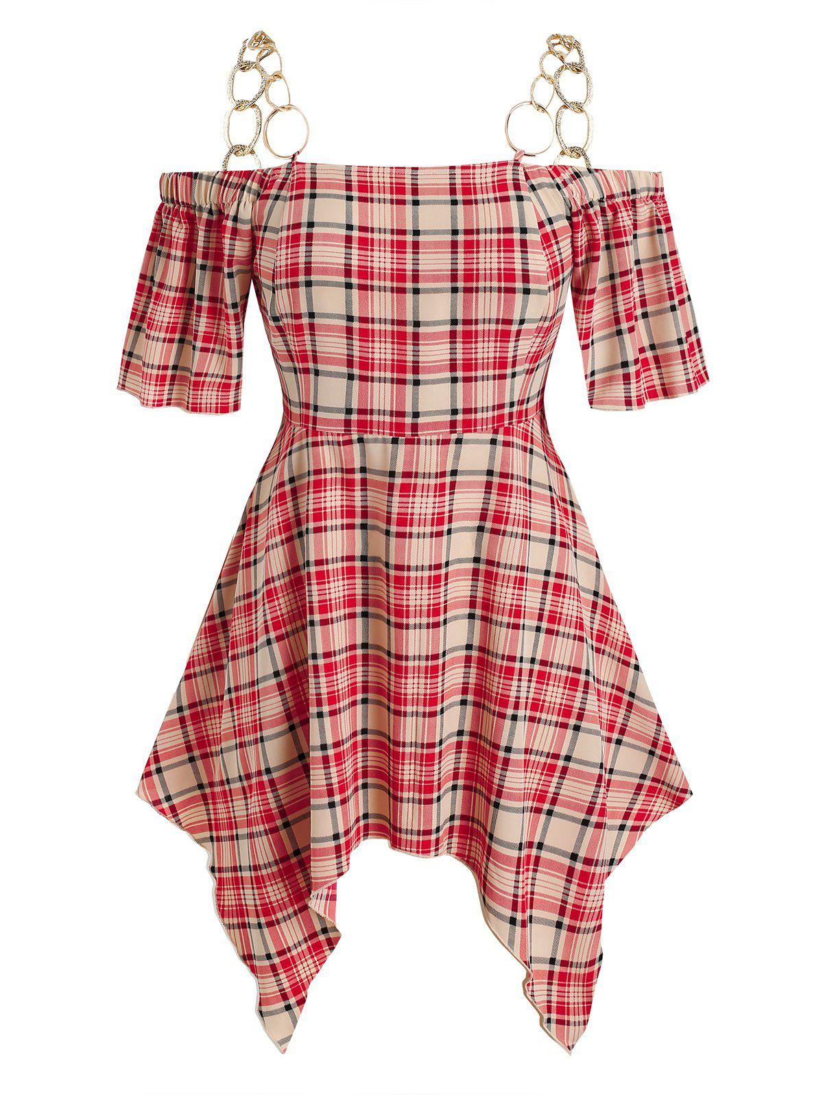 Store Plus Size Chains Checked Print Handkerchief Blouse
