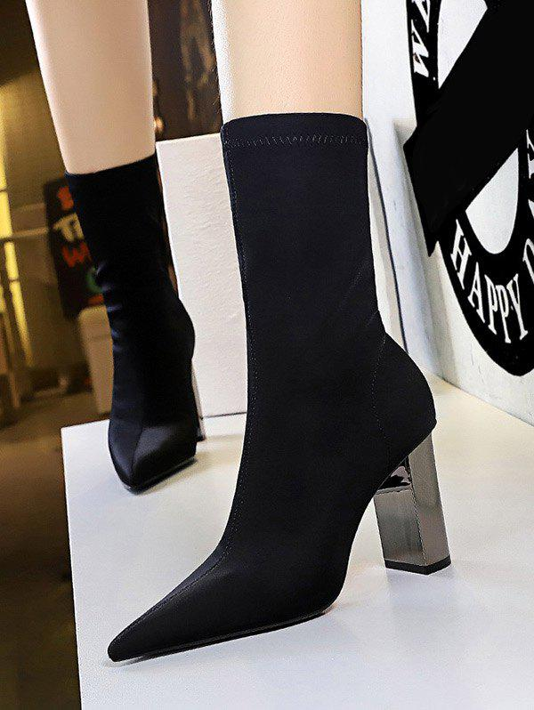 Affordable Stretch Stitching Solid Chunky Heel Mid Calf Boots