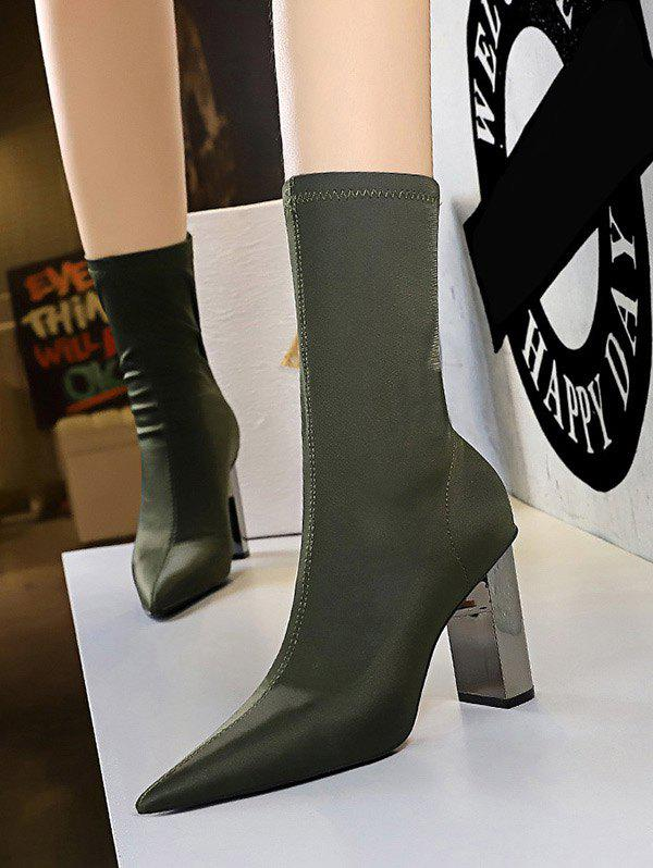 Discount Stretch Stitching Solid Chunky Heel Mid Calf Boots