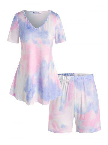 Plus Size Lounge Tie Dye V Neck Shorts Set - MULTI - 1X