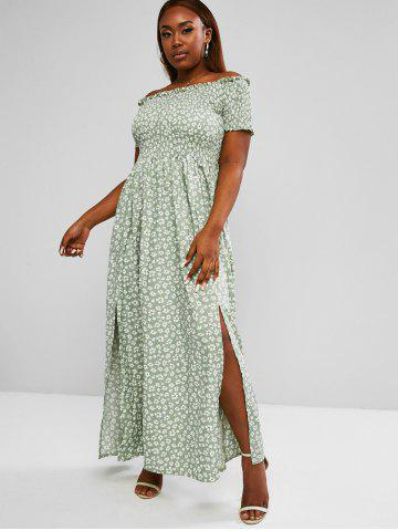 Plus Size Off The Shoulder Ditsy Print Shirred Bodice M-slit Maxi Dress