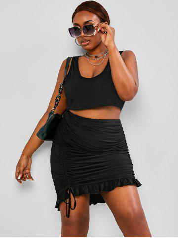 Plus Size Cropped Tank Top Cinched Skirt Two-Piece Set