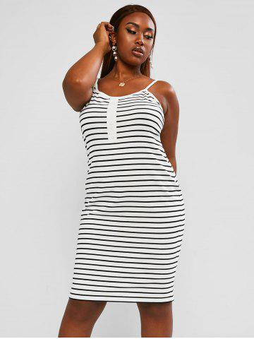 Plus Size Striped Mock Button Cami Mini Dress