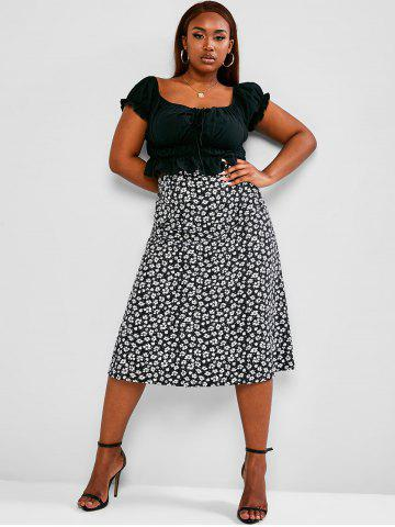 Plus Size Cinched Ruched Ditsy Print Two Piece Dress - BLACK - L