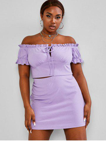 Plus Size Ribbed Off Shoulder Two Piece Skirt Dress - LIGHT PURPLE - 5XL