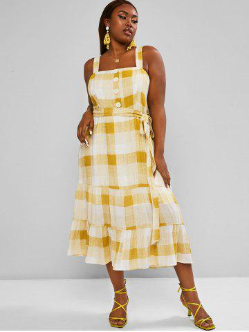 Plus Size Plaid Belted Tiered Dress