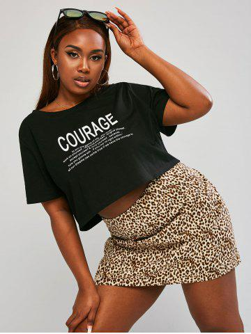 Plus Size Letter Graphic Cropped Top and Leopard Skirt Set - MULTI - 5XL