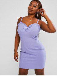 Ribbed Ruched Frilled Plus Size Mini Dress -