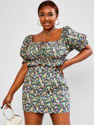 Plus Size Ditsy Floral Ruffled Two Piece Skirt Set -
