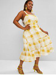 Plus Size Plaid Belted Tiered Dress -